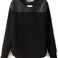 2016 Autumn/Spring Brand Women Clothing Tops Famous Brand Blusas Fashion Casual Black Long Sleeve Contrast PU Leather Blouse