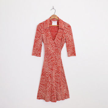 diane von furstenberg dress, diane von furstenberg wrap dress, dvf dress, justin wrap dress, 70s wrap dress, red wrap dress midi dress 10 m