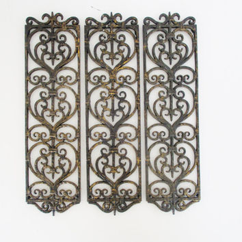 Vintage Architectural Details (3) Resin Wall Hanging Black and Bronze Ornate Decorative Architectural Detail Hollywood Regency Mid Century