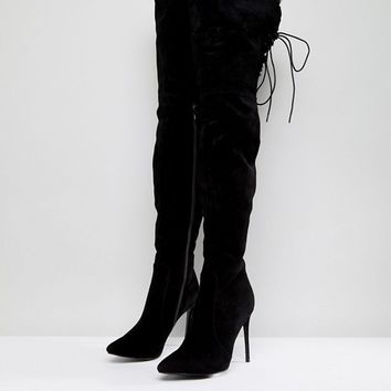 PrettyLittleThing Faux Fur Trim Heeled Over The Knee Boot at asos.com