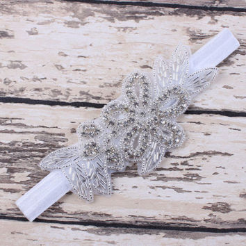 1 PC Baby Girls Toddler Infant Pearl Flower Leaves Hairband Rhinestone Headband Wedding Photo Props Hair Band Accessories