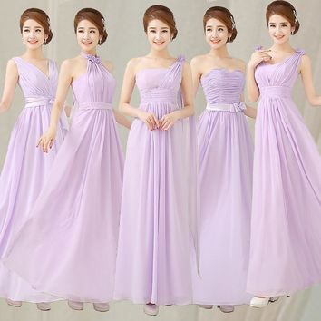 Cheap Bridesmaid Dresses Under 50 Long Liliac Light Purple Sleeveless Chiffon Bridesmaid Prom Dress For Wedding Party Vestidos