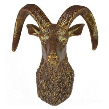 Sheep Head Wall Hanging Decoration Plastic antique golden