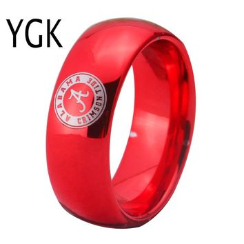 University of Alabama Crimson Tide | UA | Domed Tungsten Ring Band | Red | 8MM