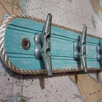 Wall Hook Rack - Galvanized Boat Cleats - Beach Towel Hook - Coat Hooks - Nautical Sea