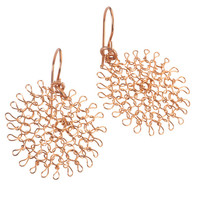Rose Gold flower earrings , small dangle wire crochet earrings