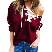 Bandage V neck Hoodies Sweatshirt Full Sleeve Loose
