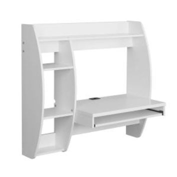 Prepac Floating Composite Wood Desk with Storage and Keyboard Tray in White WEHW-0201-1 at The Home Depot - Mobile