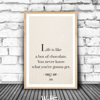 Forrest Gump, Epic movie quote, Movie line printable, Movie wall art, Movie poster, Gift idea, Birthday gift, Printable Living Wall decor