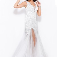 Shail K. 3960 Illusion V-Neck Beaded Prom Gown