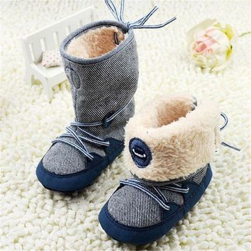 0 18months Baby Boy Winter Warm Snow Boots Lace Up Soft Sole Shoes Infant Toddler Kids
