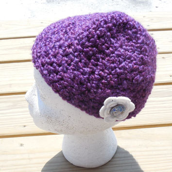 Baby Crochet Hat, 6-9 month Size, Crochet Purple Baby Hat, Infant Crochet Hat, Crochet Beanie, Crochet Flower Accents