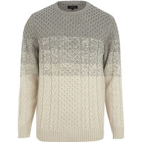 River Island MensGrey color block cable knit sweater