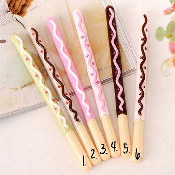 Chocolate Pocky Stick Pens / Kawaii Pens / Cute Pens / Gel Ink Pens / Cute School Supplies / Cute Gel Pens / Cute Stationery / Stationary