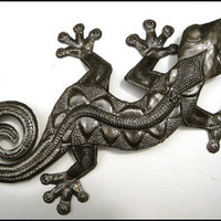 "Metal Gecko Wall Art - 26"" - Haitian Metal Art - Recycled Steel Drum Metal Art - Tropical Home Decor - Outdoor Garden Decor - 350-26 - Edit Listing - Etsy"