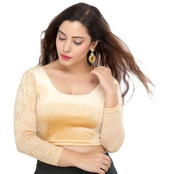 Designer Indian Gold Velvet Non-Padded Stretchable Full Sleeves Saree Blouse Crop Top (A-46)