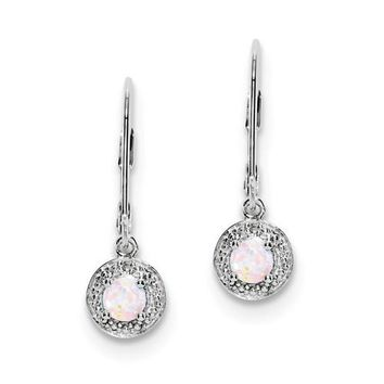 Sterling Silver Created White Opal and Diamond Halo-Style Leverback Earrings