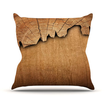 "Susan Sanders ""Natural Wood"" Rustic Nature Throw Pillow"