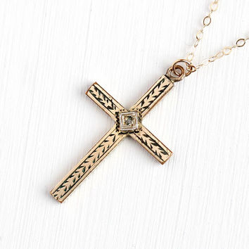 Gold Filled Cross - Vintage 12k Rosy Yellow Gold Filled Genuine Diamond Pendant Necklace - Crucifix Religious 1940s Jewelry on 10k GF Chain