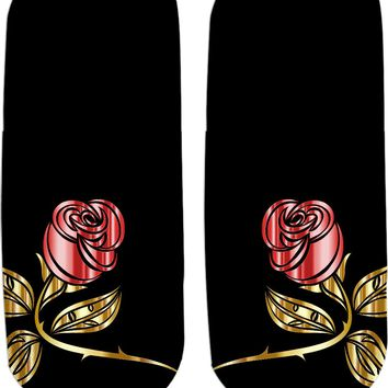 Gold, red and black vector roses Ankle socks design, floral pattern fashion accessories