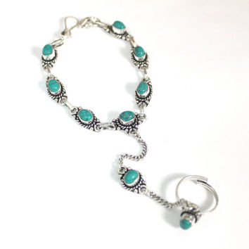 Combo silver chain&Turquoise Indian inspired slave bracelet Adjustable Hand piece Native piece Bohemian Festival jewelry designed by Inali
