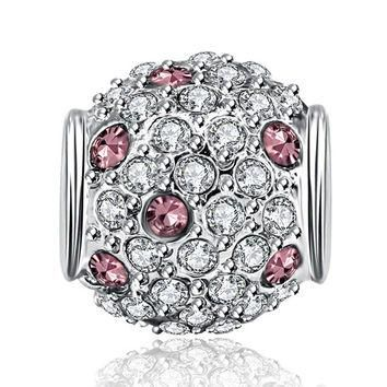 New Fashion Silver Bead Charm Round Shape With Full Crystal Bead Fit Women Pandora Bra