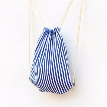 White Blue Stripes Drawstring Bags Cinch String Backpack Funny Funky Cute Novelty