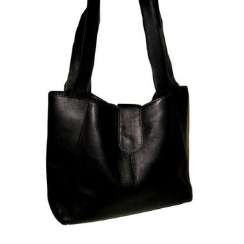 Vintage Handmade BLACK Large Italian Leather Shopper Tote with Wide Shoulder Straps