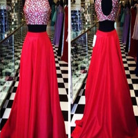Custom Made A Line High Neck 2 Pieces Red Long Prom Dress, Long Red Formal Dress