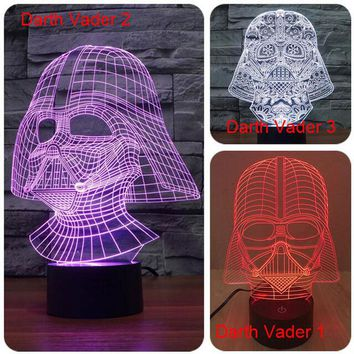 Creative Star Wars touch dimming Lamparas 3D Led Darth Vader 7