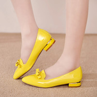 Fashion Sexy pointed Toe low Heel Shoes Pumps New spring Shoes wedding black red yellow white Pumps for Women