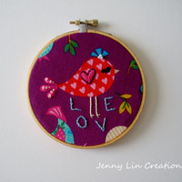 Embroidered Love Bird Hoop Art Wall Decor Gift