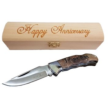 Personalized Men's Anniversary Gift | Pocket Knife and Gift Box