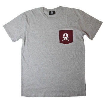 Sport Grey Burgundy Bones Pocket Tee