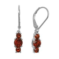 Sterling Silver Garnet Three-Stone Dangle Earrings