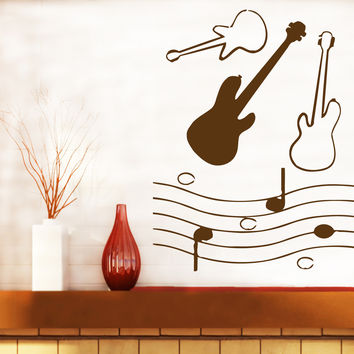Vinyl Decal Guitar notes tool Music Room Decor Wall Sticker Unique Gift (n513)