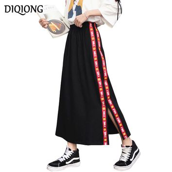 Diqiong  black Female chic vintage 2017 summer slit Maxi skirt casual Elastic High Waist Women A Line letter printed long Skirts