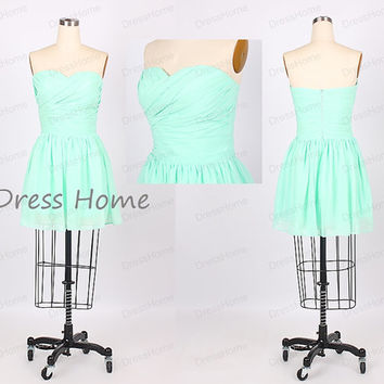Simple Mint Green Sweetheart Short Chiffon Bridesmaid Dress/Juniors Formal Dresses/Graduation Dresses/Cheap Bridesmaid Dress DH208