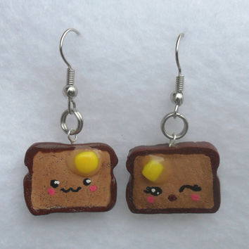 Mr. & Mrs. Toast Earrings, Cute Kawaii Toast with Melted Butter