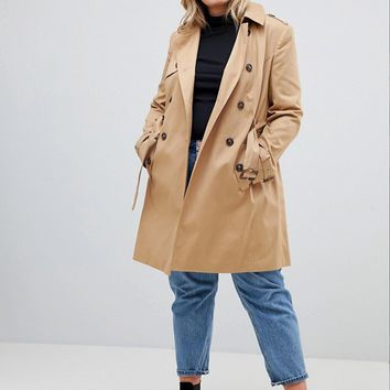 ASOS DESIGN Curve classic trench coat at asos.com