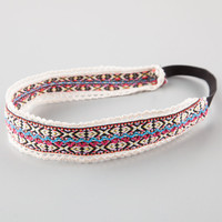FULL TILT Ethnic Print Crochet Trim Headwrap | Hair Accessories