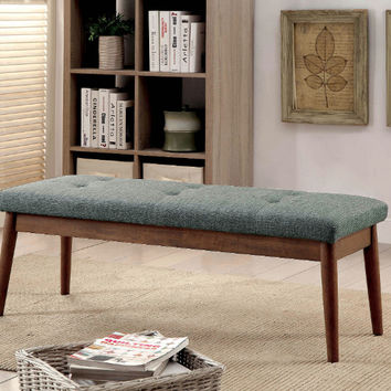 Furniture of america CM-BN6060GY Linnen gray linen like fabric oak finish wood bedroom bench