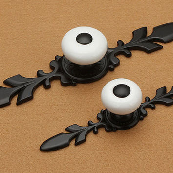 French Country Black White Dresser Drawer Pulls Back Plate Rustic Kitchen Cabinet Handle Pull Knob Furniture Hardware