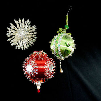 Vintage Handmade Christmas Ornaments Set of 3 Beaded Red Green Silver