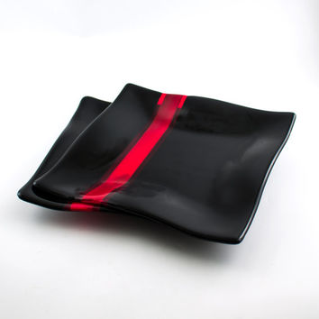 Black and Red Fused Glass Plates, Dinnerware Set, Square Dinner Plates, Modern Design, Dining Room Decor, Unique Wedding Gift for Couples