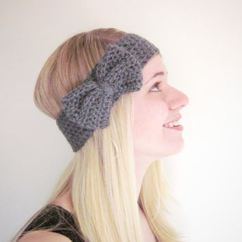 Crochet Bow Ear Warmer Headband in Charcoal Gray