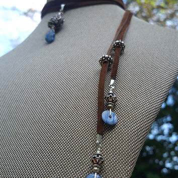 Suede Lariat / Body Jewelry of Blue Kyanite and Bali Sterling SIlver