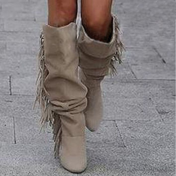 Latest name brand tassel knee high women winter boots fashion side fringe high heel long suede leather boots hot selling boots