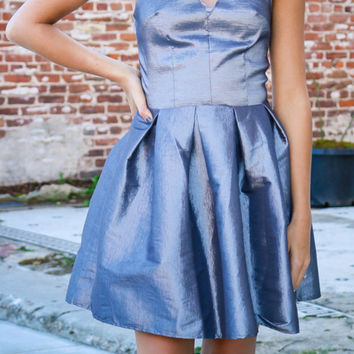 Silver Satin Dress With Lace Cutouts