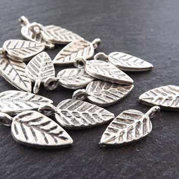 Stamped Leaf Drop Charms Autumn Leaves Fall Matte Antique Silver Plated Turkish Jewelry Making Supplies Findings Components - 15pc
